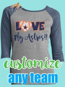 Love My Astros Rhinestone and Glitter Tee TV026B