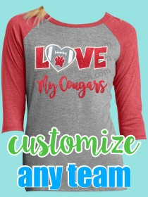 Love My Cougars Rhinestone and Glitter Tee TV026G