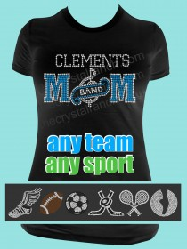Mom with Your Favorite Sport Symbol Rhinestone Tee TP014A