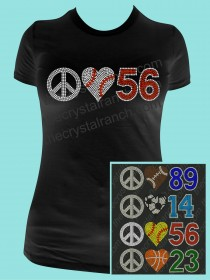 Peace Love Jersey Number Rhinestone Tee TP025