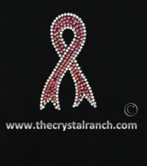 D015 Support Ribbon Rhinestone Decal