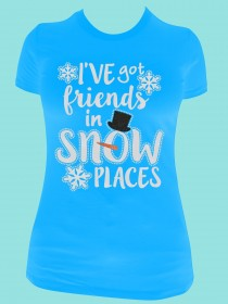 I've Got Friends in Snow Places Rhinestone and Glitter Tee THV063