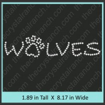 Wolves with Paw Print Rhinestone Transfer CRT247
