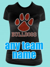 Paw Print with Your Team Name Rhinestone Tee TT521