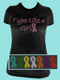 Fight Like a Girl Rhinestone Tee TG013
