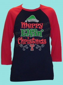 Merry Elfin' Christmas Rhinestone and Glitter Tee THV022