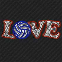 D005 Volleyball Love Rhinestone Decal