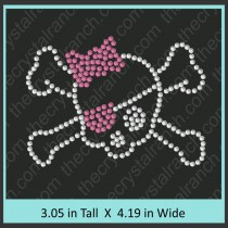 Skull with Cross Bones (Small) Rhinestone Transfer CRY016cu