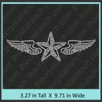 Texas Star with Wings Rhinestone Transfer CRY047c