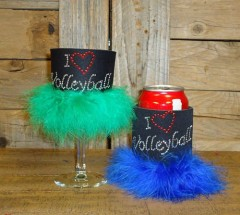 I Love Volleyball Rhinestone Drink Koozie KS082
