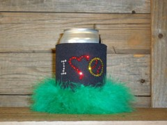 I Love Softball Rhinestone Drink Koozie KS100