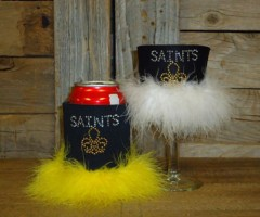 Saints Rhinestone Drink Koozie KT122