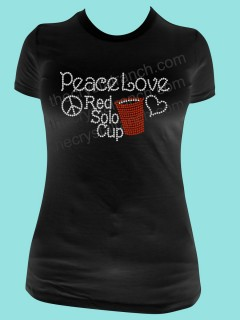 Peace, Love and Red Solo Cup Rhinestone Tee TB051