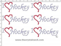 I Love Hockey - Petite (6) Rhinestone Transfer CRK068cs