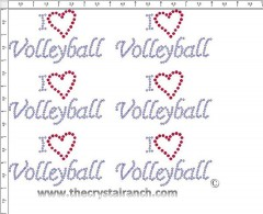I Love Volleyball - Petite (6) Rhinestone Transfer CRK082cs
