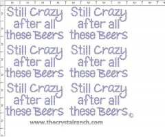 Still Crazy after all these Beers - Petite (6) Rhinestone Transfer CRK146