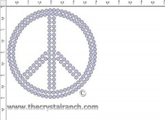 Peace 4in Rhinestone Transfer CRY007c