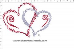 Pair of Hearts Rhinestone Transfer CRY224ck