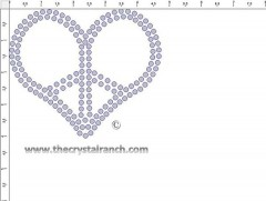 Peace Heart 4in Transfer CRY228