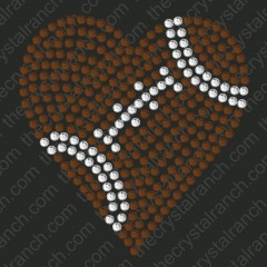 DS151 Football Heart Rhinestone Decal