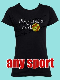 Play Like a Girl Rhinestone Tee GTS021