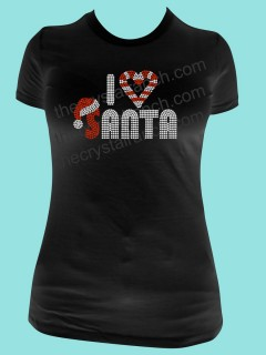 I Love Santa Rhinestone Tee TH079