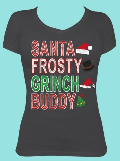 Santa Frosty Grinch Buddy Rhinestone and Glitter Tee THV013