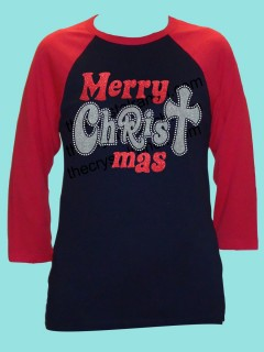 Merry CHRISTmas Rhinestone and Glitter Tee THV051