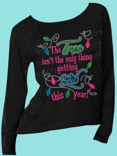 The Tree isn't the only thing getting Lit this year Rhinestone and Glitter Tee THV055