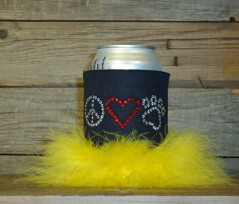 Peace Love and Paws Rhinestone Drink Koozie KA119