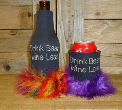 Drink Beer Wine Less Rhinestone Drink Koozie KB136