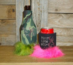 Hunt Like a Girl Rhinestone Drink Koozie KR124