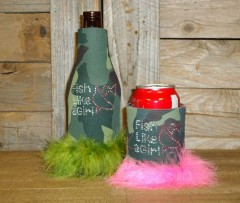 Fish like a Girl Rhinestone Drink Koozie KR125