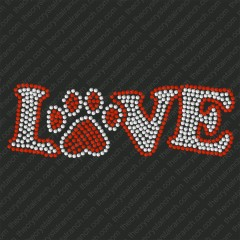 D014 Love with Paw Print Rhinestone Decal
