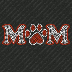 D013  Mom with Paw Print Rhinestone Decal