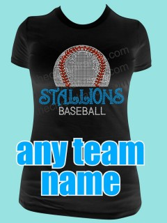 YOUR BASEBALL TEAM Custom Rhinestone Tee TP010
