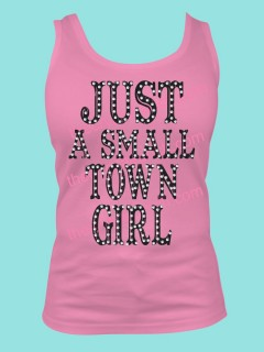 Just a Small Town Girl Rhinestone and Screen Print Tee TRV044