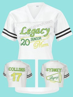 Legacy Eagles Senior Mom Rhinestone Jersey for Football and Cheer