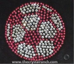 DS014s Soccer Ball in Pink Studs Rhinestone Decal
