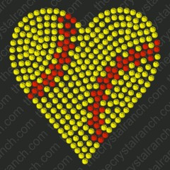 DS147k Softball Heart Rhinestone Decal