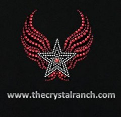 DYH1106 Star with Wings Rhinestone Decal
